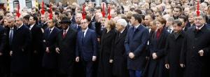 Korrupter Idiotie Verein bei dem Aufmarsch der Betroffenheit in Paris