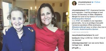 Putzfrau: Madeleine Allbright und die Nazi Bandera Ukrainische Frau. Aussenministerin von Kanada: Chrystia Freeland