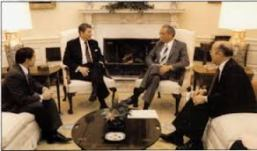 November 1988. DioGuardi with President Regan, Congressman Rinaldo and National Security Adviser Poindexter in the Oval Office discussing U.S. foreign policy in Balkans.