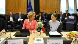 BRUSSELS, BELGIUM - MARCH 04: Swedish environmentalist Greta Thunberg attends a meeting with President of the European Commission Ursula von der Leyen as they announce a new EU climate deal, at the European Commission on March 4, 2020 in Brussels, Belgium. (Photo by Leon Neal/Getty Images)